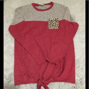 Red and grey long sleeve